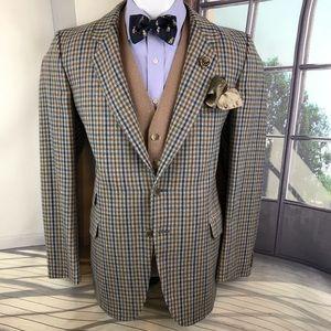 Vintage blazer Harrods brown blue checkered 40r